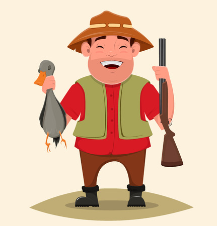 Hunter holding rifle and shot duck. Happy cheerful smiling cartoon character. Man in hat and with beard. Vector illustration. Usable as poster, print. EPS10 Illustration