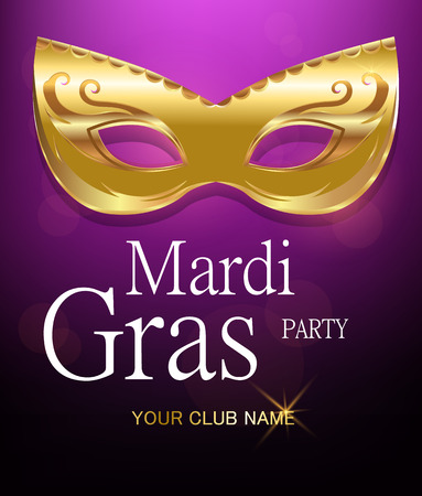 Mardi Gras golden carnival mask with ornaments for poster, greeting card, party invitation, banner or flyer on beautiful purple background. EPS10. Vector Illustration.