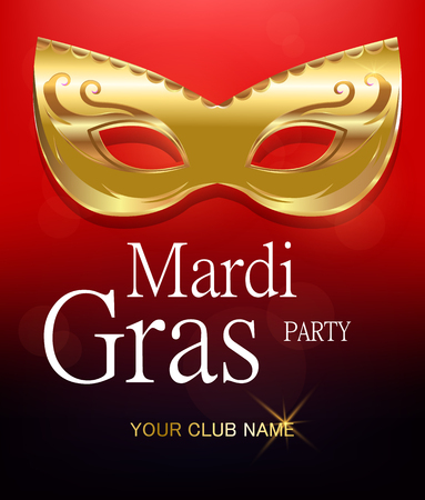 Mardi Gras golden carnival mask with ornaments for poster, greeting card, party invitation, banner or flyer on beautiful red background. EPS10. Vector Illustration.