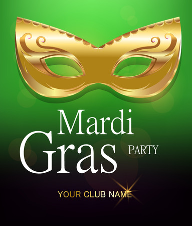 Mardi Gras golden carnival mask with ornaments for poster, greeting card, party invitation, banner or flyer on beautiful green background. EPS10. Vector Illustration. Illustration
