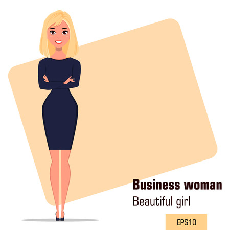 Young cartoon businesswoman standing with crossed hands in office situation. Beautiful girl presenting business plan, startup. Fashionable modern lady. Vector illustration. EPS10