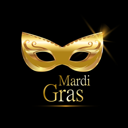 new orleans: Mardi Gras golden carnival mask with ornaments for poster, greeting card, party invitation, banner or flyer on black background. EPS10. Vector Illustration.