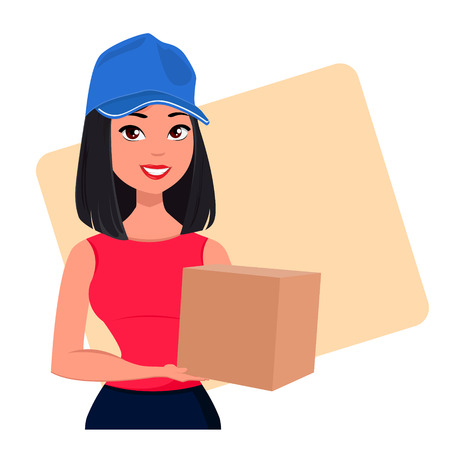 package deliverer: Young cartoon girl from courier delivery services holding large cardboard box. Packaging for delivery of the goods, pretty young woman. Vector illustration