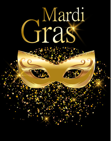 Mardi Gras golden carnival mask  for poster, greeting card, party invitation, banner  on black background with golden sand.