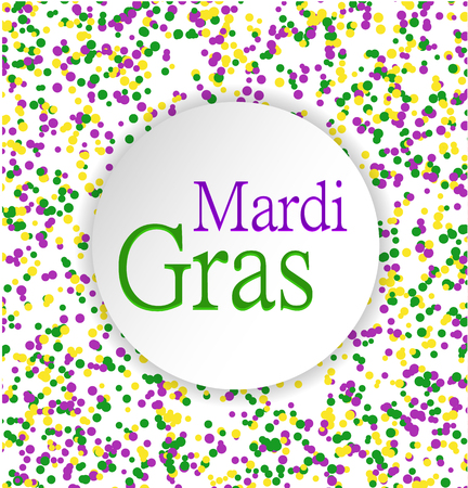 Mardi Gras abstract pattern made of colored dots on white background with colored words in circle in center.Yellow, green and purple confetti for carnival backdrop, design element. Vector illustration