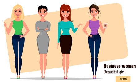 Four young cartoon businesswomen. Set of beautiful girls in working situations. Fashionable modern ladies. Vector illustration. EPS10