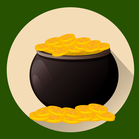 cast iron: Pot full of golden coins for Saint Patricks day. Leprechaun gold. Vector illustration, flat style. Usable for greeting card, icon, poster, etc.