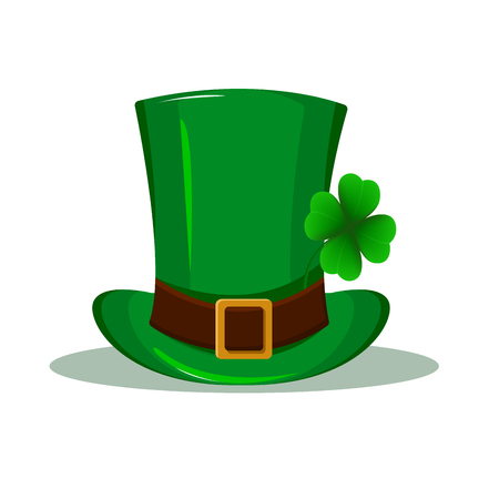 Patrick hat. Green hat with four leaf clover isolated on white background.