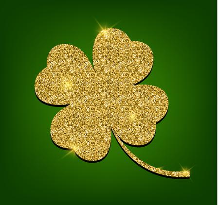 Golden clover for St. Patricks day. Four leaf clover made of gold sand, isolated on green background. Vector illustration Illustration