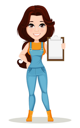 Farmer girl dressed in work jumpsuit. Cute cartoon character holding clipboard. Can be used for animation, as design element and in any farm related project. Dismantled over the layers. Vector Illustration
