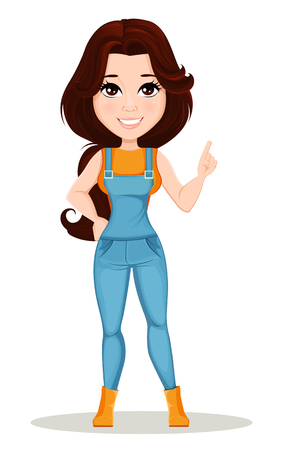 Farmer girl dressed in work jumpsuit. Cute cartoon character showing attention sign. Can be used for animation, as design element and in any farm related project. Dismantled over the layers. Vector