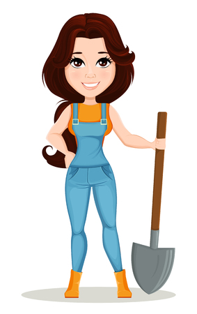 Farmer girl dressed in work jumpsuit. Cute cartoon character holding a shovel. Can be used for animation, as design element and in any farm related project. Dismantled over the layers. Vector