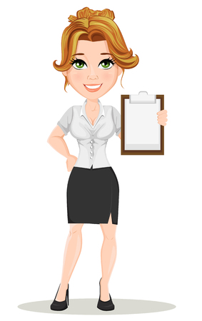 Young cartoon businesswomen. Beautiful smiling girl in working situation. Fashionable modern lady holding blank clipboard. Vector illustration. EPS10