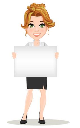 Joven empresarias de dibujos animados. Hermosa niña sonriente en situación de trabajo. Señora moderna de moda que sostiene la bandera en blanco que anuncia algo. Ilustración del vector. EPS10 Ilustración de vector