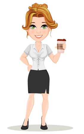 Young cartoon businesswomen. Beautiful smiling girl in working situation. Fashionable modern lady holding hot tasty coffee while coffee break. Vector illustration. EPS10 Illustration