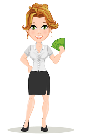 Young cartoon businesswomen. Beautiful smiling girl in working situation. Fashionable modern lady holding money. Vector illustration. EPS10