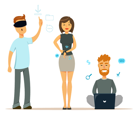 Set of people with modern gadgets. Man in virtual reality glasses. Cheerful woman with smart watch. Man sitting on the floor and working with laptop. Characters. Cute flat style. Vector