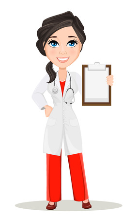 Doctor woman with stethoscope. Cute cartoon smiling doctor character in medical gown holding blank clipboard. Vector illustration. EPS10