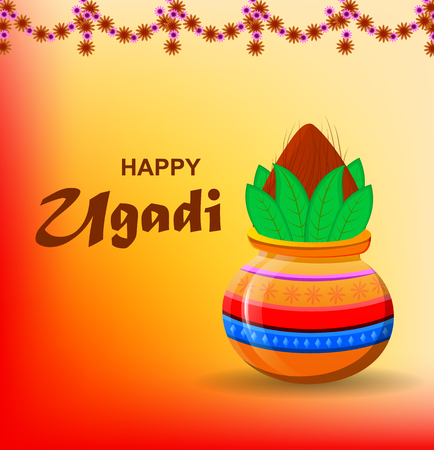 maharashtra: Happy Ugadi and Gudi Padwa Hindu New Year. Greeting card for holiday. Colored pot with coconut on beautiful orange sunny background with garland made of flowers. Modern vector illustration