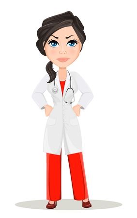 Doctor woman with stethoscope. Cute cartoon doctor character in medical gown showing anger, dissatisfied. Vector illustration. EPS10 Illustration