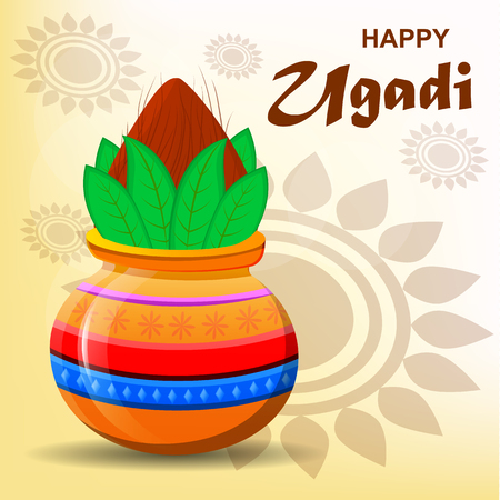 Happy Ugadi and Gudi Padwa Hindu New Year. Greeting card for holiday. Colored pot with coconut on abstract light background. Modern vector illustration Stock Vector - 74884034