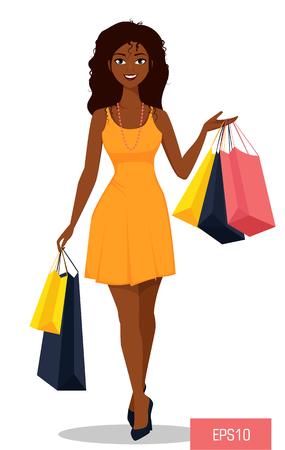 mujer en el supermercado: Hermosa mujer afroamericana con bolsas.
