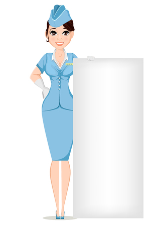 Stewardess in professional uniform. Cute smiling woman working as air hostess standing near big sign. Crew member of a civil aircraft. Cheerful cartoon character. Vector stock illustration.