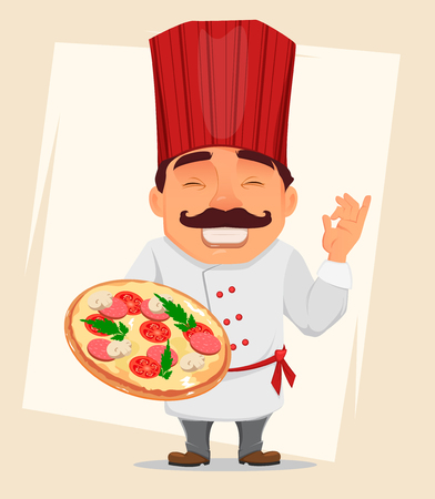 Chef Cook holding tasty pizza. Cute cartoon character, smiling cook in professional uniform and red hat. Stock vector