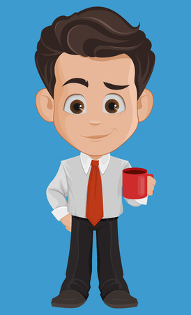 Business man cartoon character. Cute young businessman in office clothes holding mug with hot tasty coffee while coffee-break. Vector illustration
