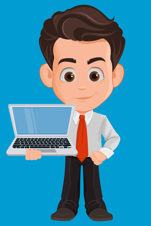 Business man cartoon character. Cute young businessman in office clothes holding laptop. Vector illustration Illustration