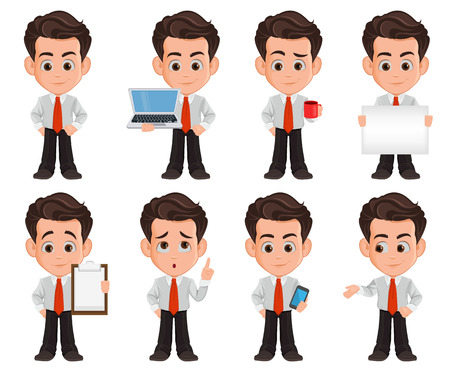 Business man cartoon character. Set of eight illustrations. Cute young businessman in office clothes. Vector illustration