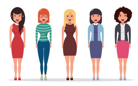 Reeks diverse bedrijfskarakters, onderneemsters gekleed in verschillende stijlen van kleren. Geometrische mensen. Eenvoudig cartoon plat ontwerp. Vector illustratie.