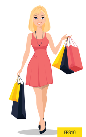 Beautiful woman with bags. Attractive cartoon girl in beautiful  dress on a shopping spree. Vector illustration Banco de Imagens - 75903044