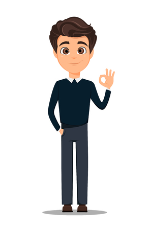 Business man cartoon character in smart casual clothes showing OK gesture.