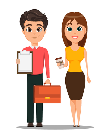 Business man and business woman cartoon characters in smart casual clothes.