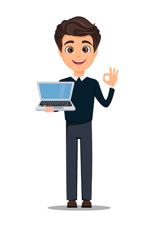 Business man cartoon character in smart casual clothes holding laptop.