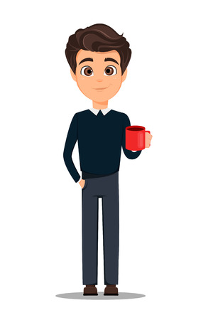 Business man cartoon character in smart casual clothes with cup of hot coffee.