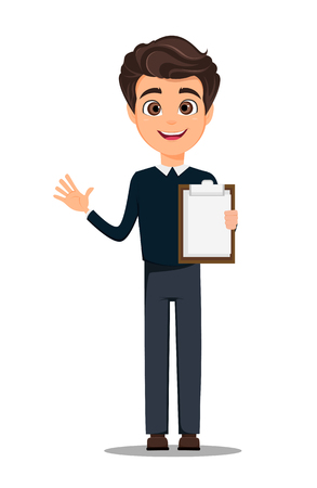 Business man cartoon character in smart casual clothes holding blank clipboard. Иллюстрация