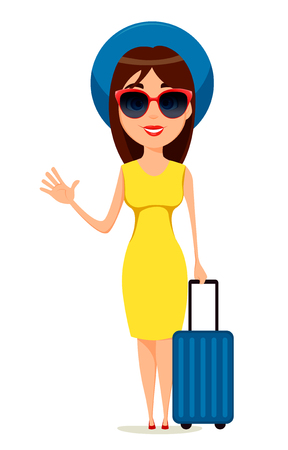 Young woman go travel, standing with suitcase and waving hand in yellow dress, sunglasses and summer hat going to warm countries.