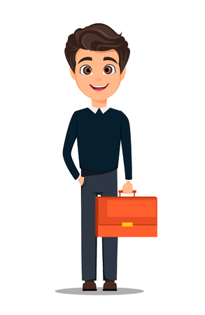 Business man cartoon character in smart casual clothes holding document case.