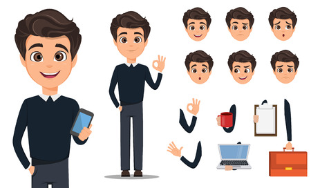 Business man cartoon character creation set in smart casual.