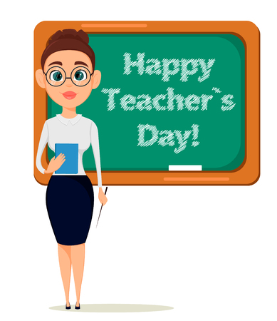 Happy Teachers Day. Cute teacher with pointer and notebook stands. Illustration