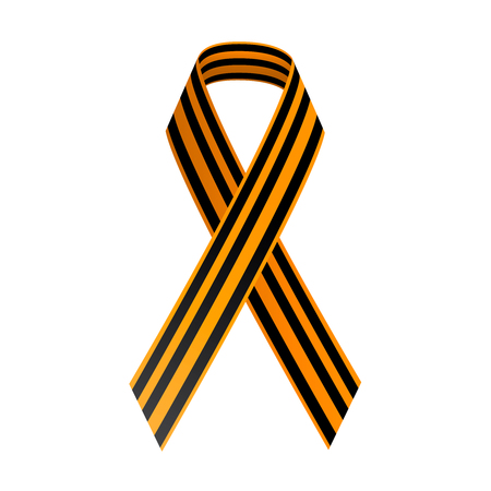 georgian: St George Black and gold Ribbon. May 9, Happy Victory day. Illustration