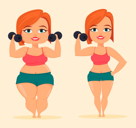 Woman doing exercises with dumbbells. Fat and slim girl before and after losing weight. Cute cartoon character. Stock vector