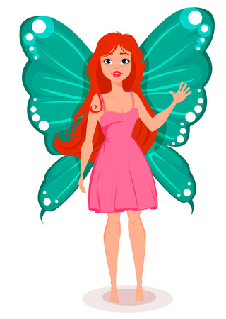 Fairy with butterfly wings. Beautiful redhead cartoon character. Stock vector Illustration