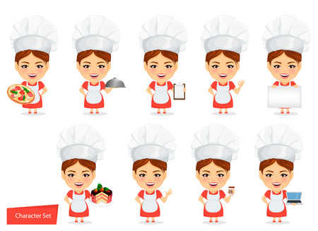 Cook woman, female master chef. Funny cartoon character with big head. Set of humorous vector illustrations.