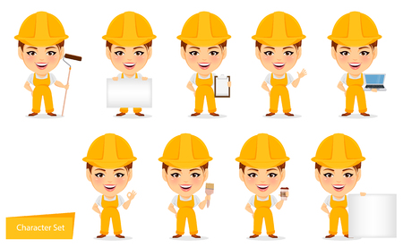 humorous: Builder woman. Funny female worker with big head. Set of humorous cartoon character. Vector illustration.