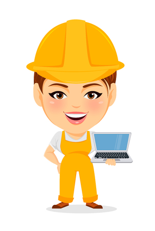 humorous: Builder woman. Funny female worker with big head standing with laptop. Humorous cartoon character repairer. Vector illustration.