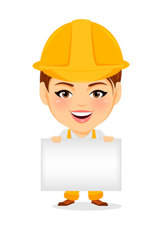 humorous: Builder woman. Funny female worker with big head holding blank sign or banner. Humorous cartoon character repairer. Vector illustration.