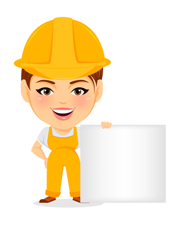 humorous: Builder woman. Funny female worker with big head standing near blank sign. Humorous cartoon character repairer. Vector illustration.